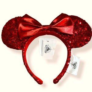 NWT Disney Minnie Ear Headband - Red Sequin